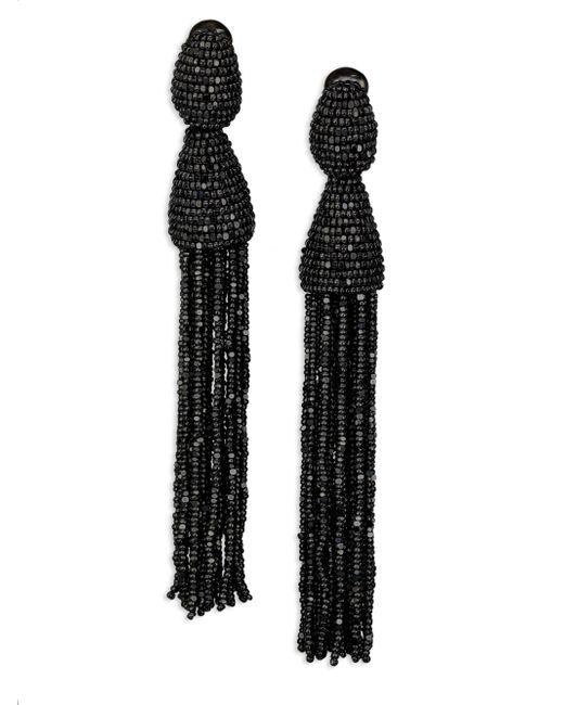 Oscar de la Renta - Black Long Beaded Tassel Clip-on Earrings - Lyst