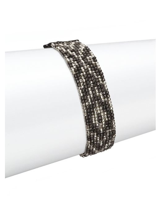 Chan Luu - Metallic Gunmetal, Sterling Silver & Leather Multi-row Beaded Bracelet - Lyst