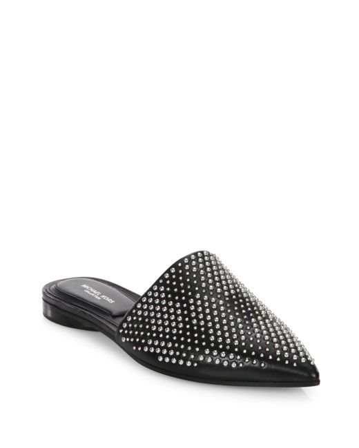 Michael Kors | Black Darla Leather Flat Mules | Lyst