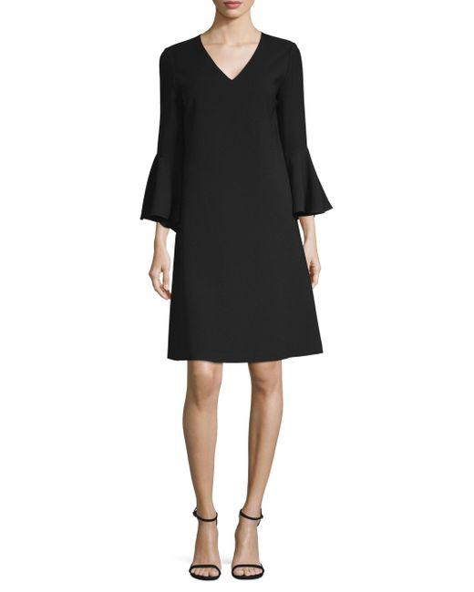 Lafayette 148 New York - Black Holly Bell-sleeve Shift Dress - Lyst
