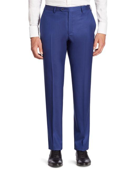 Corneliani - Blue Solid Straight-leg Wool Pants for Men - Lyst