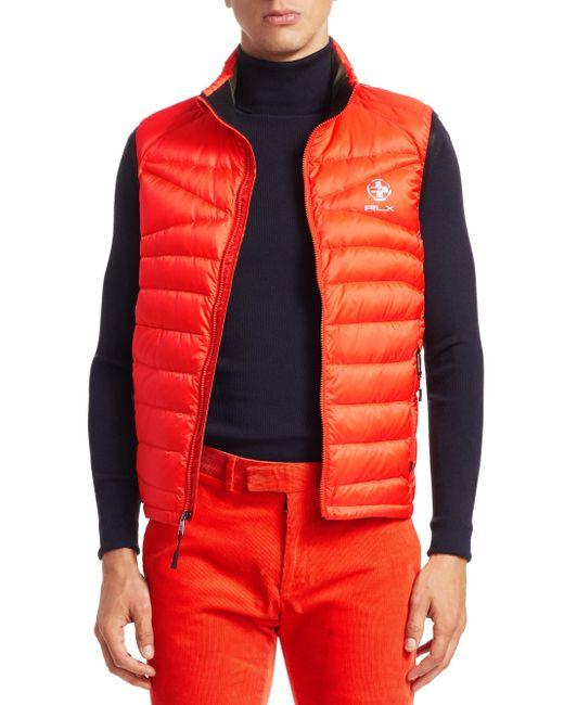 Ralph Lauren Purple Label - Orange Rlx Packable Down Vest for Men - Lyst