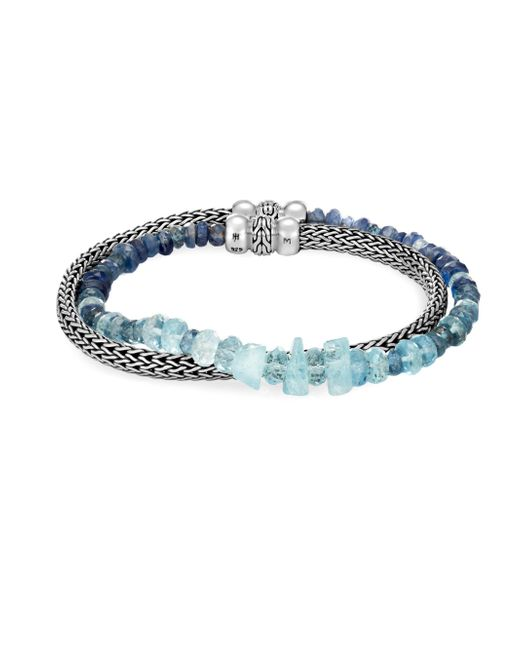 John Hardy - Blue Classic Chain Double Wrap Bracelet With Mixed Pink - Lyst