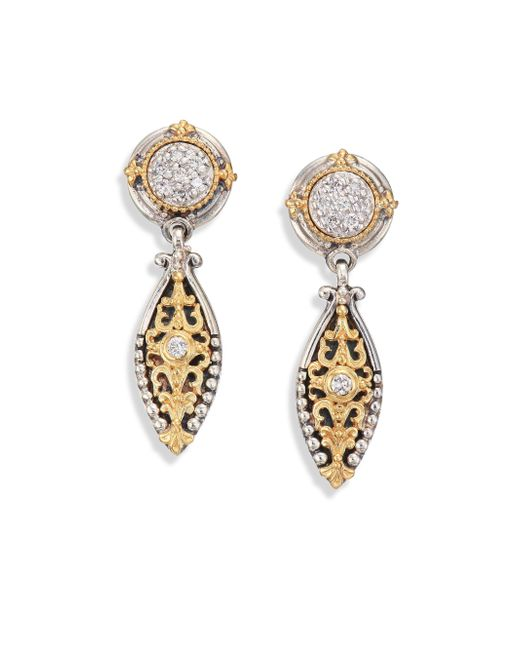 Konstantino | Metallic Asteri Diamond, 18k Yellow Gold & Sterling Silver Filigree Marquis Drop Earrings | Lyst