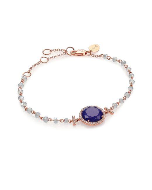 Meira T | Pink Sodalite, Blue Topaz, Diamond & 14k Rose Gold Beaded Bracelet | Lyst