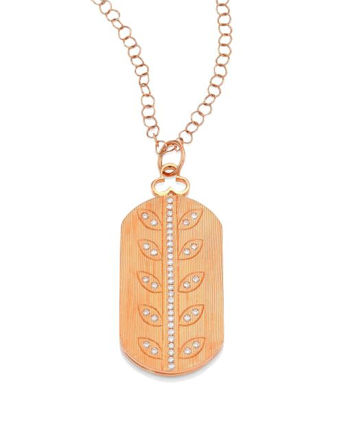 Devon Woodhill | Multicolor Vine Diamond & 18k Rose Gold Modern Dog Tag Locket | Lyst