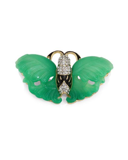 Kenneth Jay Lane - Green Jade Wing Butterfly Pin - Lyst