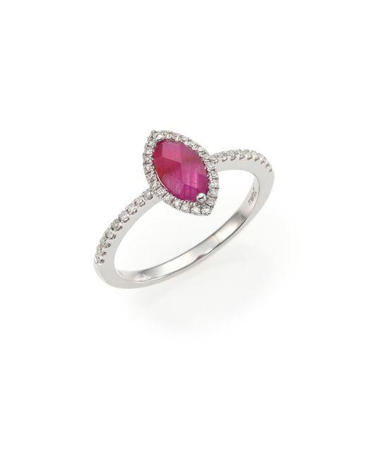 Meira T - Metallic Diamond, Ruby & 14k White Gold Ring - Lyst