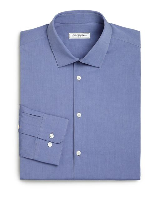 Saks Fifth Avenue - Blue Modern Slim-fit Stretch Poplin Dress Shirt for Men - Lyst