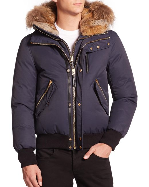 Mackage - Blue Dixon Fur-Trimmed Bomber Jacket for Men - Lyst