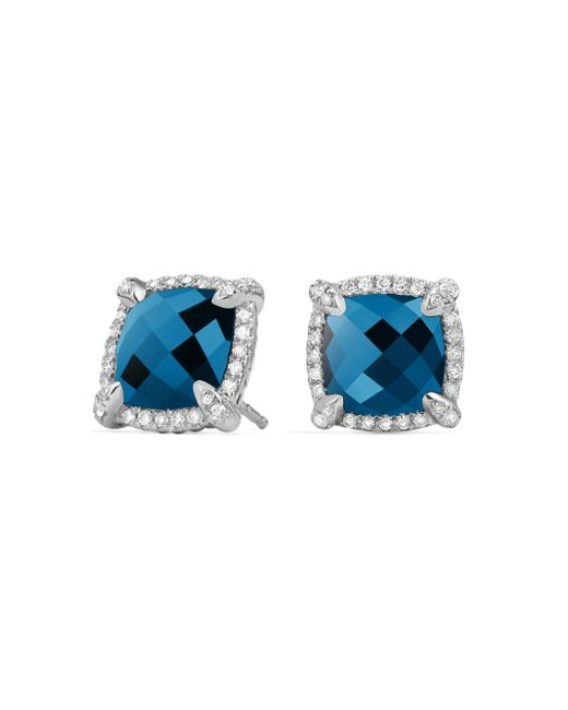 David Yurman - Blue Chã¢telaine® Pave Bezel Stud Earring With Gemstone And Diamonds - Lyst