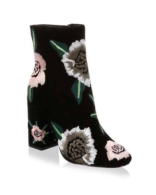 Rebecca Minkoff - Black Bryce Embroidered Suede Block Heel Booties - Lyst