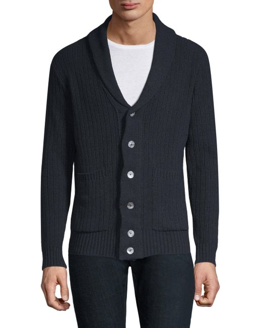 Eleventy - Blue Shawl Buttoned Sweater for Men - Lyst