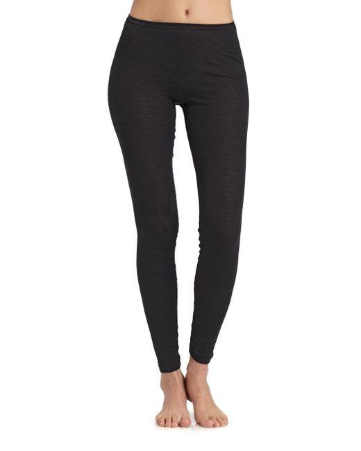 Hanro - Black Woolen Silk Leggings - Lyst
