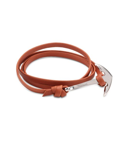 Miansai - Brown Anchor Sterling Silver & Leather Bracelet - Lyst