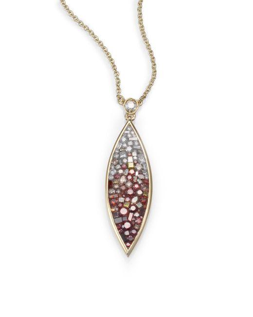 Plevé - Metallic Raspberry Diamond & 18k Yellow Gold Ombre Marquis Pendant Necklace - Lyst