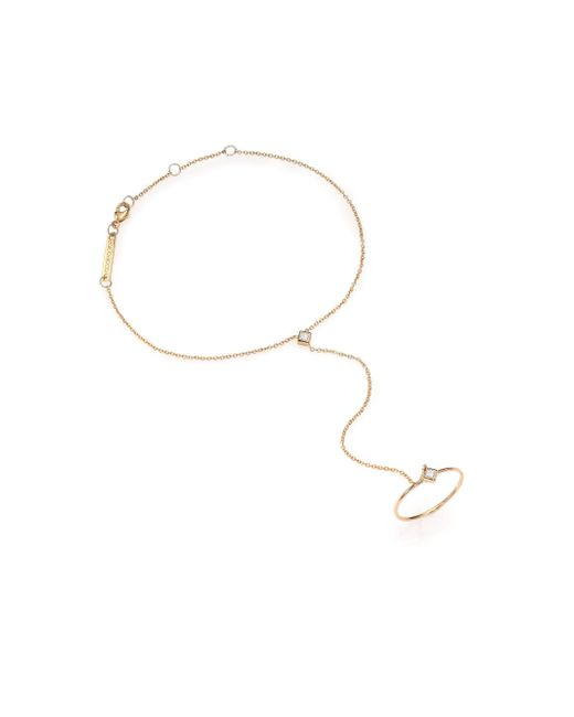 Zoe Chicco - Metallic Diamond & 14k Yellow Gold Princess Hand Chain Bracelet - Lyst
