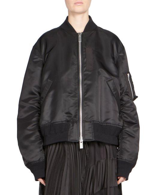 Sacai | Black Zip-front Bomber Jacket | Lyst
