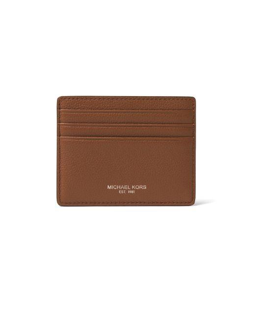 Michael Kors - Black Textured Leather Card Holder - Lyst