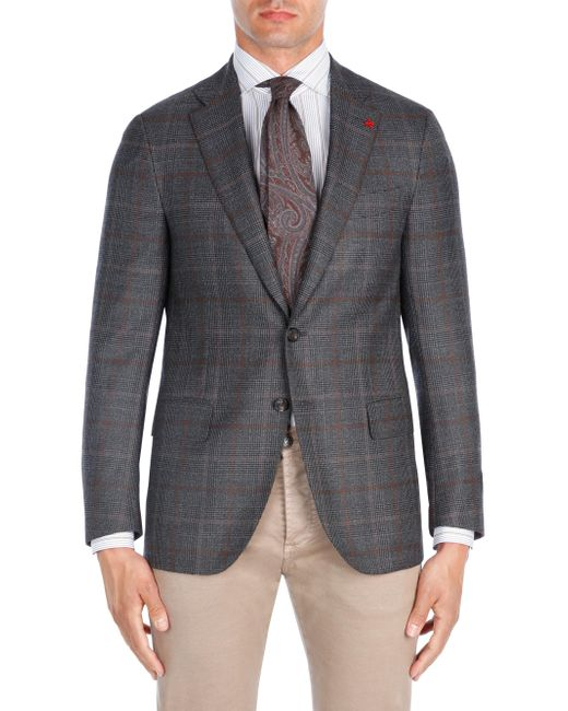 Isaia - Brown Contrast Windowpane Wool Sportcoat for Men - Lyst