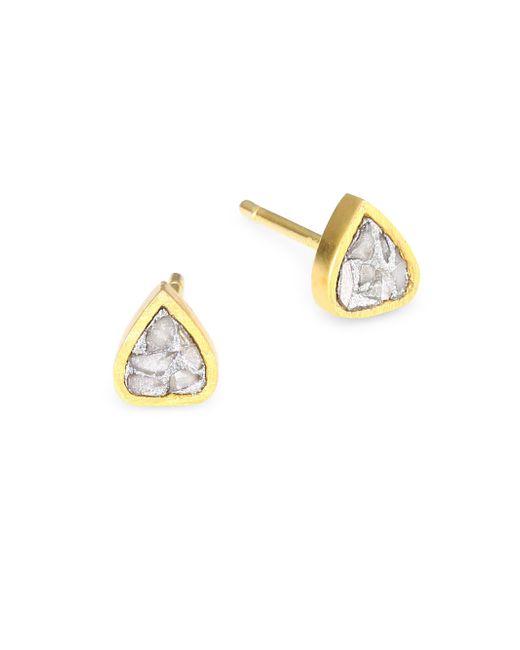 Shana Gulati - Metallic Barrow Raw Diamond & Goldplated Stud Earrings - Lyst