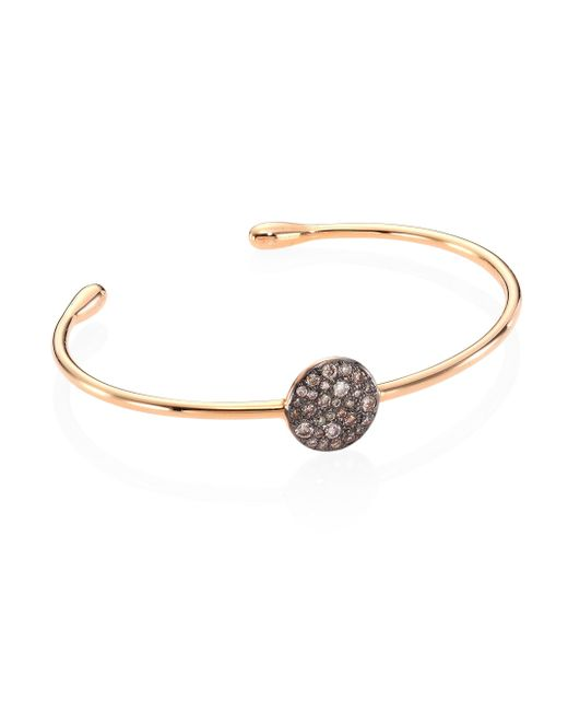 Pomellato - Metallic Sabbia Brown Diamond & 18k Rose Gold Bangle Bracelet - Lyst
