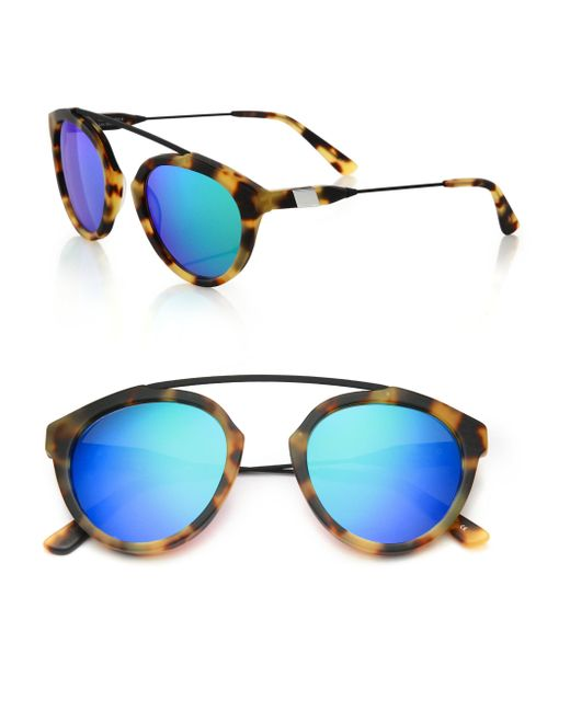 Westward Leaning - Blue Flower 2 51mm Round Sunglasses - Lyst
