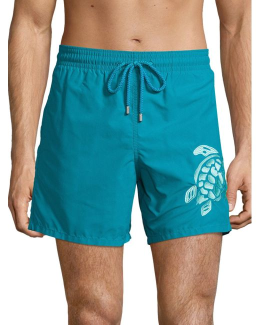 Vilebrequin   Blue Embroidered Turtle Swim Trunks for Men   Lyst