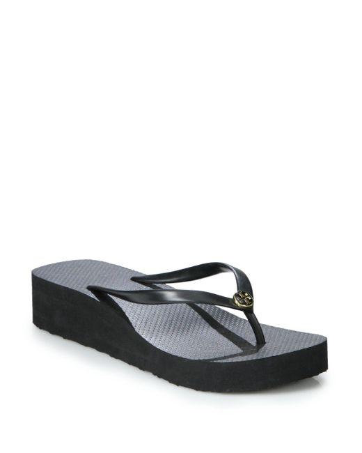 Tory Burch | Black Thin Wedge Flip Flops | Lyst