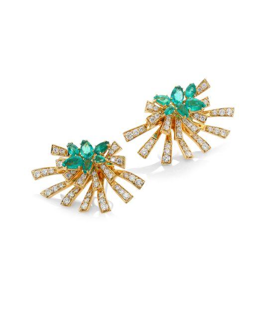 Hueb - Mirage Diamond & Green Emerald Stud & Ear Jacket Set - Lyst