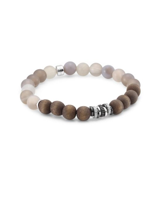 Tateossian - Gray Agate And Silver Tri-tone Bracelet for Men - Lyst