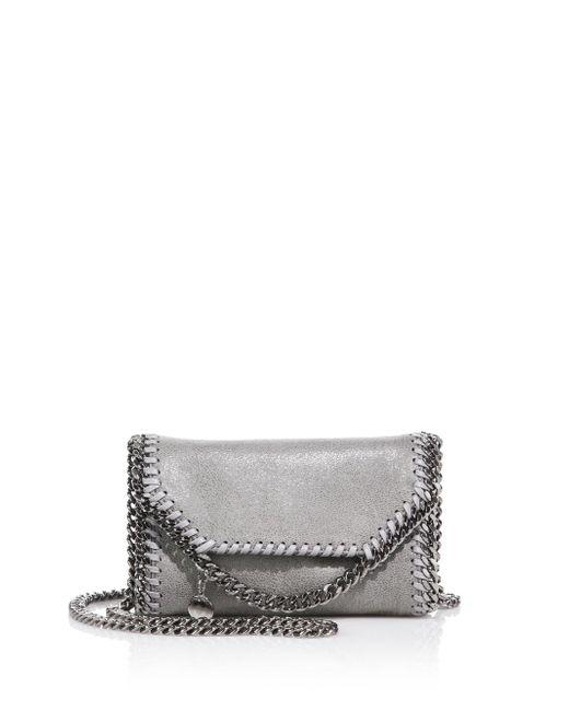 Stella McCartney | Metallic Tiny Falabellafaux Leather Fold-over Chain Crossbody Bag | Lyst