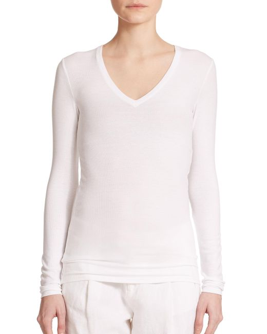 ATM - White Long-sleeve V-neck Tee - Lyst