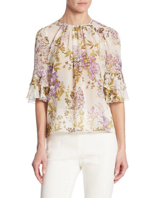 Giambattista Valli | White Garden Floral Silk Blouse | Lyst