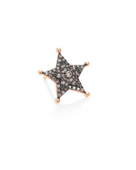 Kismet by Milka - Multicolor Sheriff Star Diamond & 14k Rose Gold Single Stud Earring - Lyst