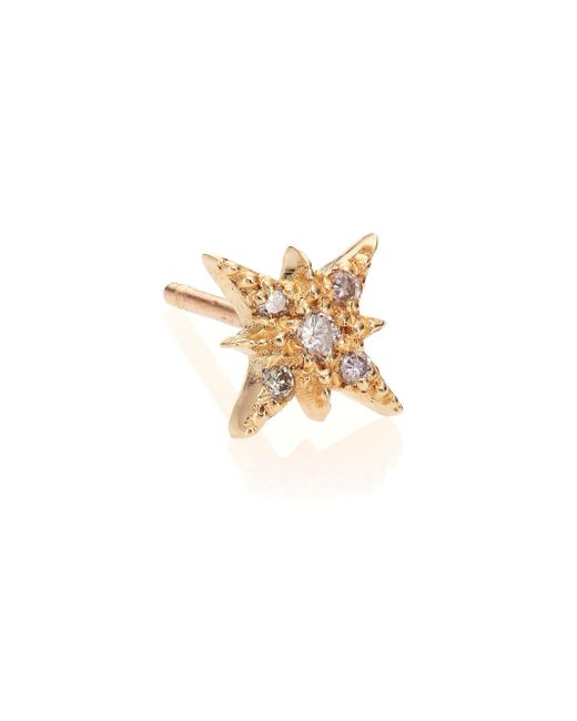 Jacquie Aiche - Metallic Diamond & 14k Yellow Gold Starburst Single Stud Earring - Lyst