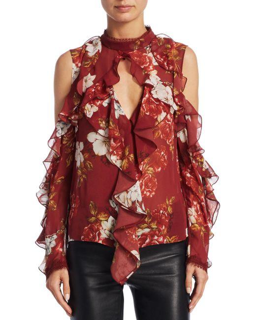 Nicholas - Red Celeste Cold Shoulder Silk Top - Lyst