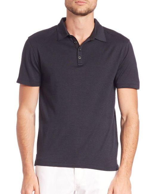 John Varvatos - Blue Hampton Striped Silk Blend Polo for Men - Lyst