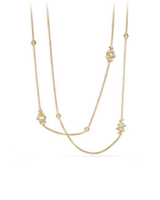 David Yurman - Metallic Crossover Station Necklace With Diamonds In 18k Gold - Lyst