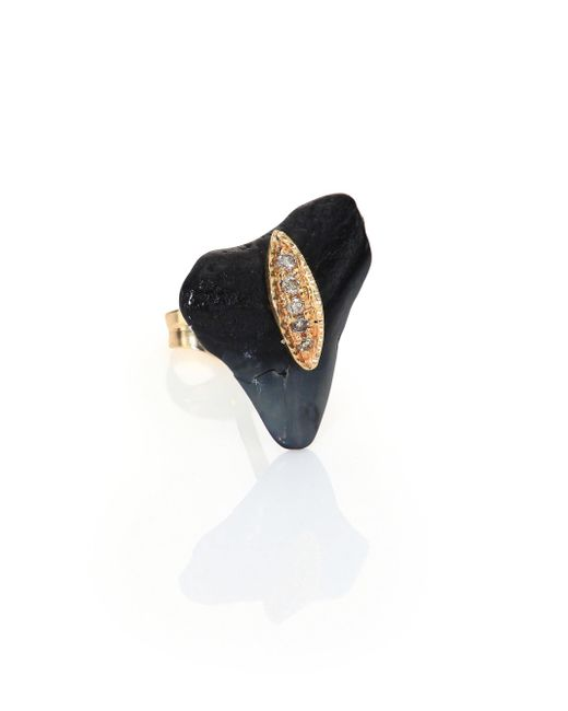Jacquie Aiche | Metallic Diamond, Shark Tooth & 14k Yellow Gold Single Stud Earring | Lyst