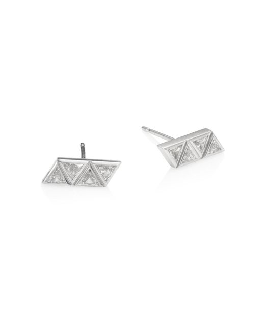 Melissa Kaye - Metallic Chloe Diamond & 18k White Gold Stud Earrings - Lyst