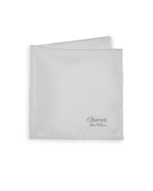 Charvet White Solid Silk Pocket Square for men