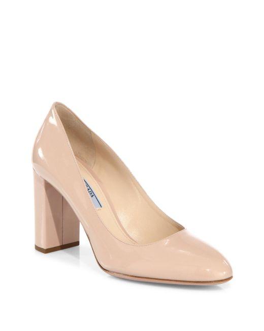Prada - Natural Patent Leather Block Heel Pumps - Lyst
