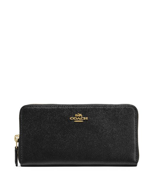COACH - Black Accordion Crossgrain Leather Zip Wallet - Lyst