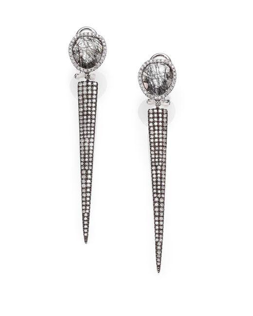 Meira T | Rutilated Quartz, Diamond & 14k White Gold Spike Drop Earrings | Lyst