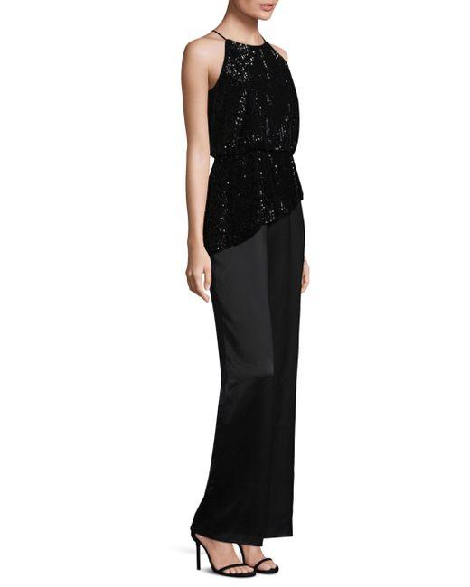 Aidan Mattox - Black Sequined Asymmetrical Jumpsuit - Lyst