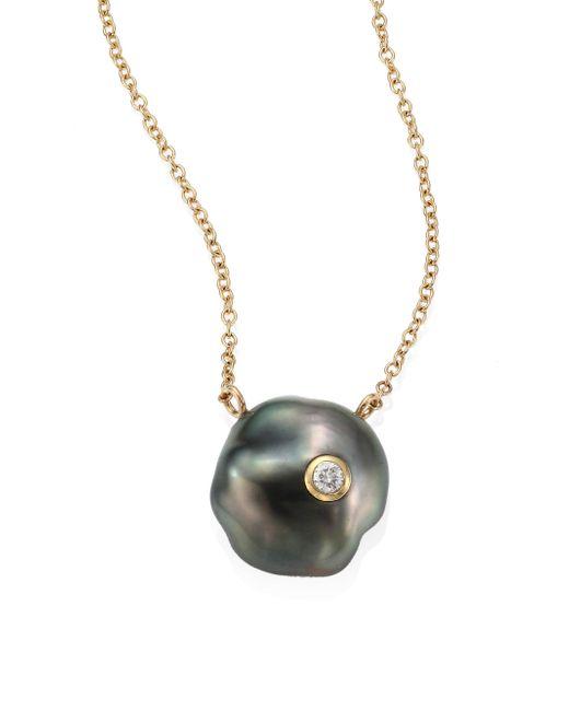 Mizuki - Gray Diamond, 10mm Grey Baroque Tahitian Pearl & 14k Yellow Gold Pendant Necklace - Lyst