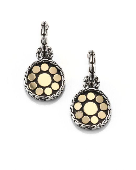 John Hardy - Metallic Dot 18k Yellow Gold & Sterling Silver Drop Earrings - Lyst