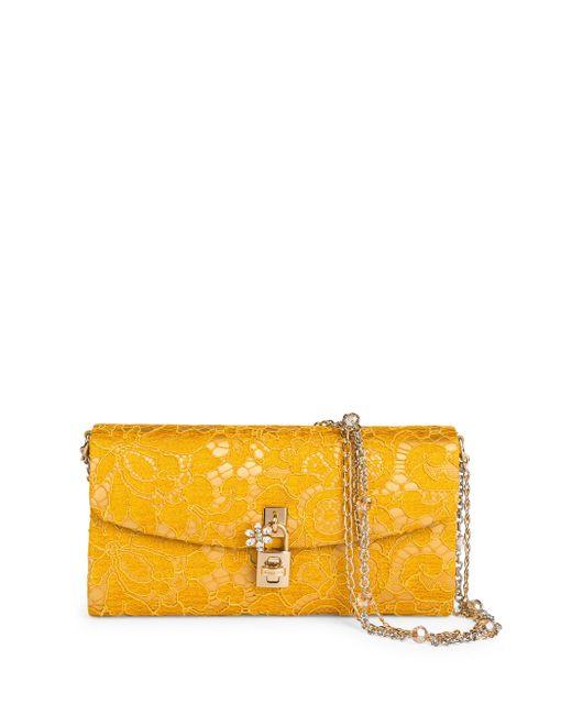 Dolce & Gabbana | Yellow Lace Pouchette Chain Clutch | Lyst