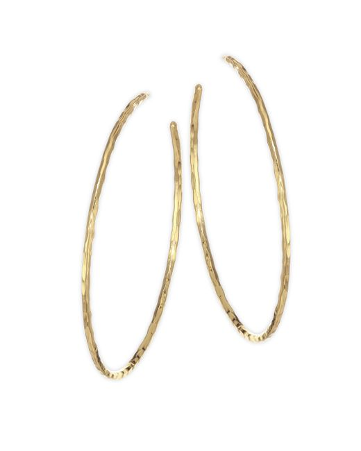 Nest - Metallic Hammered Gold Plated Hoop Earrings - Lyst